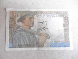 BILLET 10 FRANCS-LE MINEUR-25.3.1943-72676/P.43-ETAT TB - 1871-1952 Anciens Francs Circulés Au XXème