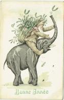 Illustrateur : Oreys. Elephant Et Lutin Avec Hotte Et Gui. Bonne Année. - Non Classés