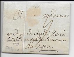 1776 - LETTRE De AIX (BdR) Avec MARQUE LINEAIRE  (LENAIN N°9) - 1701-1800: Précurseurs XVIII