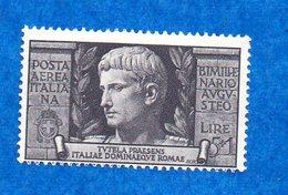 ITALIE-1937- N++ -P.A - Empereur Auguste - 5 Lire + 1 -( Violet-noir  )  Bon état - - 1900-44 Victor Emmanuel III