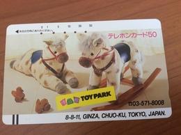 Telecarte Japon - Comic Horse- Balkenkarte / Front Bar Card Japan / Japonese  - Nr. 110-7515 - Japan