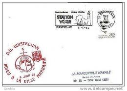 Pli  Ouisteham Adieu à La Ville Marraine 1994. - Poststempel (Briefe)