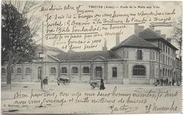 10 TROYES Ecole De La Halle Aux Vins Verso CACHET Lieu De Destination Envahi Pour HEUTREGIVILLE Par PONTARLIER - Troyes