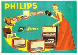 PUB Publicité NUGERON J129  PHILIPS Bi-Ampli 1956 ( Bibliothéque Fornay)*PRIX FIXE - Publicité