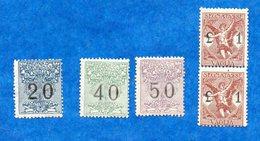 ITALIE-1924- N++ -Timbres Pour Mandats- 5 Timbres ( 20-40-50- Et Paire Du 1Lire ) Peu Commun En Neuf -   Bon état - - 1900-44 Victor Emmanuel III.