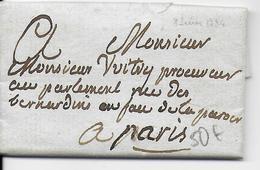 1784 - LETTRE TRES PETIT FORMAT 65 X 40mm AUTOGRAPHE Du MARQUIS De CHABANAIS (COLBERT) Par PORTEUR => PARIS - 1701-1800: Précurseurs XVIII