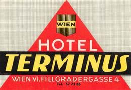 """D7854 """"HOTEL TERMINUS - WIEN - WIEN VI. FILLGRANDERGASSE 4 """" ETICHETTA ORIGINALE - ORIGINAL LABEL - Adesivi Di Alberghi"""
