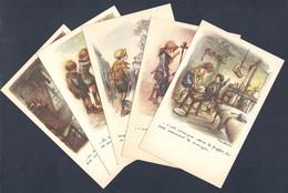 Ligue Nationale Contre Le Taudis 1937 Lot Des 5 Cartes Différentes Signées Poulbot - Poulbot, F.