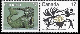 Canada 1980 - A Pair Of 2 Works By Canadian Artists Eskimos Inuits Spirits Art Sculpture Stamps MNH SC 866-867 - 1952-.... Reign Of Elizabeth II