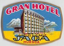 """D7860 """"  GRAND HOTEL JACA - HUESCA  """" ETICHETTA ORIGINALE - ORIGINAL LABEL - Adesivi Di Alberghi"""