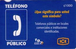 TARJETA TELEFONICA DE COSTA RICA. (PREPAGO). TELEFONO PUBLICO. 019 - Costa Rica