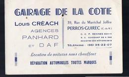 Perros-Guirec (22 Côte D'Armor) Carte GARAGE DE LA CÖTE (louis Créach) Agence Panhard (PPP13039) - Publicités