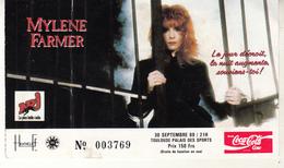 Ticket Ou Billet D'entrée Pour Mylène FARMER Au Palais Des Sports De Toulouse Septembre 1988 - Tickets D'entrée