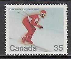 Canada 1980 - One  Winter Olympic Games Lake Placid USA Sports Skiing Stamp MNH SG 971 Mi 759 SC 848 - 1952-.... Reign Of Elizabeth II