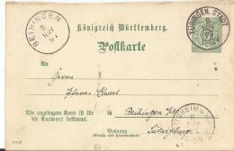 Württemberg GS Karte 1891 Tübingen .-Beihingen - Wuerttemberg