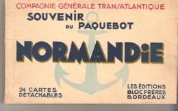 Paquebot Normandie  -  Carnet De 25 Cartes Détachables - Paquebots