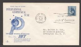 1958 International Geophysical Year Sc 376  Rose Craft Cachet - Ersttagsbelege (FDC)