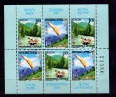 2004 Bosnia Serbia Europa CEPT - Booklet  Pane-Delta Glader, Rafting At Cayak - MH - Paper - MNH** Mi H Blatt 7 - Europa-CEPT