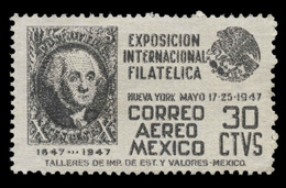 Mexico Scott #C-168, 30¢ Violet Blue (1947) Arms Of Mexico, Mint Hinged - Mexico