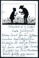 B4370 - Scherenschnitt Glückwunschkarte - Berliner Tierschutzverein - Gel Werdau - Silhouettes