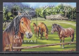 Litauen 2016. Horses Of Lithuanian Breed Zematiukai. Bl .MNH - Lithuania