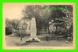 MADOC, ONTARIO - MEMORIAL PARK SHOWING HIGH SCHOOL - PECO - - Ontario