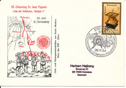 Germany DDR Cover Leader Of Drifting Station Nordpol 1 Dr. Iwan Papanin 90 Birthday Erfurt 26-11-1984 - Scientific Stations & Arctic Drifting Stations