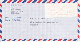 Japan Air Mail Cover With Meter Cancel Ozu 9-11-1990 Sent To Denmark - Airmail