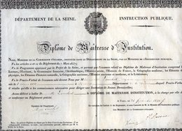 VP12.1889 - PARIS 1840 - Diplôme De Maîtresse D' Institution - Melle Marie LAUCHET Née à NEVERS - Diplômes & Bulletins Scolaires