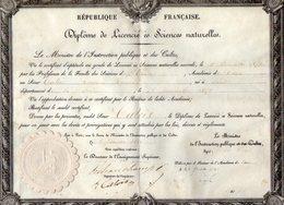 VP12.190 - PARIS 1880 - Diplôme De Licencié ès Siences Naturelles - Mr Eugène Henri CATOIS De CAEN - Diplômes & Bulletins Scolaires