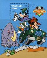 Safari-Club 1994 Tanzania Block 266 O 5€ Nashorn Bei Mickey Goofy Im Auto Hojitas Bloc S/s Wildlife Sheet Bf Disney - Rhinozerosse