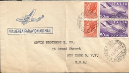 M) 1958 ITALY, AIR MAIL, AIRPLANE IN STAMP OF 50 LIRE, 10 LIRE STAMP, CIRCULATED COVER FROM ITALY TO USA. - Italy
