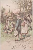 Fête :  Pâques, Le  Lapin Et Les  Enfants - Easter