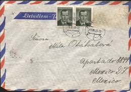 M) 1959 CZECHOSLOVAKIA, TWO  POSTAL STAMPS OF J. SVERMA (1 Kcs) CIRCULATED COVER FROM CZECHOSLOVAKIA TO MEXICO. - Czechoslovakia
