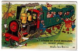 Carte à Système Avec Son Dépliant Multivues - Train .. En Avant Pour MALO LES BAINS - Edit. Gaby - 3 Scans - Malo Les Bains