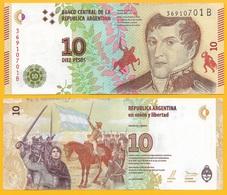 Argentina 10 Pesos P-360 2016 (Suffix B) UNC - Argentine