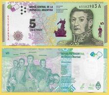 Argentina 5 Pesos P-359a 2015 (Suffix A) UNC - Argentine