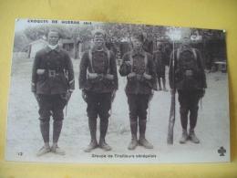 L7 6696. CPA. CROQUIS DE GUERRE 1914 - GROUPE DE TIRAILLEURS SENEGALAIS ( VUE TRES GROS PLAN) - Weltkrieg 1914-18