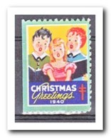 Amerika 1940, Postfris MNH, Christmas ( Left Imperf. )( These Stamps Have No Gum, Original ? ) - Frankeervignetten