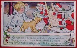 Cpa ENFANT Réveillé Par LUTINS De NOEL , Chien , Jouets, 1924 , Boy Awaked By Santa With  Toys, Christmas - Santa Claus