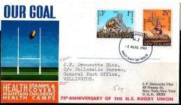 1967 New Zealand - Rugby - Health Set FDC Cover  - Runned To USA - Rugby