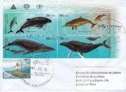 SOBRE ENVELOPE. CIRCULEE OBLIT VILLA DOMINICO. 2011. BLOCK STAMPS FAUNA MARINA.-TBE-BLEUP - Argentinien