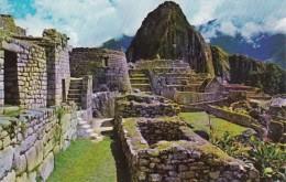 Peru Machupicchu Central Part Of Citadel With Sun Temple and Hua