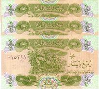 IRAQ 1/4 DINAR 1993 P-77a UNC 3 PCS [IQ334a] - Iraq
