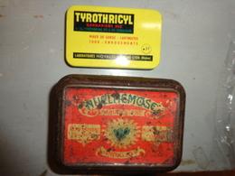 3 Boite Fer -medicaments -nuclmemose ? Remy Lecoq-tyrothricyl Labo Novalis-pastille Salmon -asthme Toux- - Publicité