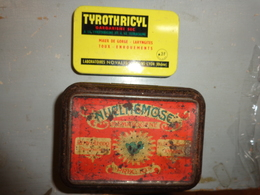 3 Boite Fer -medicaments -nuclmemose ? Remy Lecoq-tyrothricyl Labo Novalis-pastille Salmon -asthme Toux- - Pubblicitari