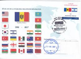 Moldova , Moldavie , 2017 , 25 Years Moldova - Israel Diplomatic Relation , Flags , Coat Of Arms , Sp. Cancell - Moldavie