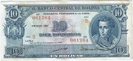 Bolivia 10 Bolivianos 20-12-1945 (1952) Pick 139.b Ref 1690 - Bolivia