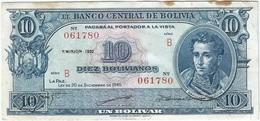 Bolivia 10 Bolivianos 20-12-1945 (1952) Pick 139 B.1 Ref 3121-3 - Bolivia