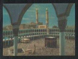Saudi Arabia 3 D Picture Postcard Holy Mosque Ka'aba Mecca Plastic View Card - Saudi Arabia